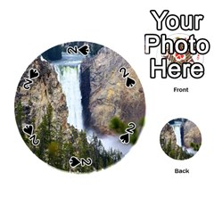 Yellowstone Waterfall Playing Cards 54 (round)  by trendistuff