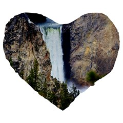 Yellowstone Waterfall Large 19  Premium Flano Heart Shape Cushions by trendistuff