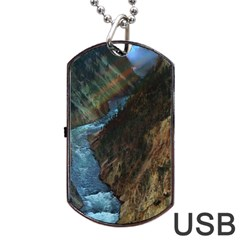 Yellowstone Lower Falls Dog Tag Usb Flash (two Sides)  by trendistuff