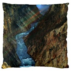 Yellowstone Lower Falls Large Flano Cushion Cases (one Side)  by trendistuff