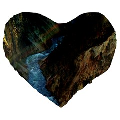 Yellowstone Lower Falls Large 19  Premium Flano Heart Shape Cushions by trendistuff