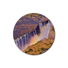 Waterfall Africa Zambia Rubber Coaster (round)  by trendistuff