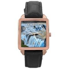 Gullfoss Waterfalls 2 Rose Gold Watches by trendistuff