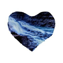 Gullfoss Waterfalls 1 Standard 16  Premium Heart Shape Cushions by trendistuff