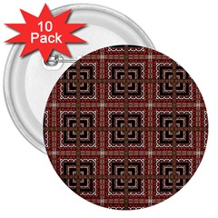 Check Ornate Pattern 3  Buttons (10 Pack)  by dflcprints