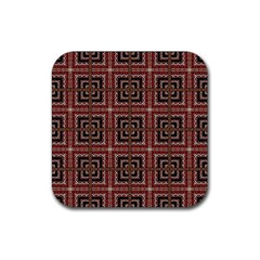 Check Ornate Pattern Rubber Square Coaster (4 Pack)  by dflcprints