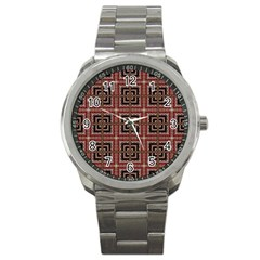 Check Ornate Pattern Sport Metal Watches by dflcprints