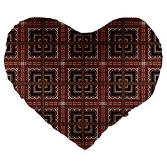 Check Ornate Pattern Large 19  Premium Flano Heart Shape Cushions by dflcprints