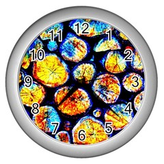 Woodpile Abstract Wall Clocks (silver)  by Costasonlineshop