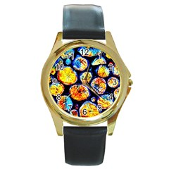 Woodpile Abstract Round Gold Metal Watches by Costasonlineshop