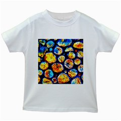 Woodpile Abstract Kids White T Shirts by Costasonlineshop