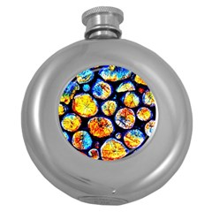 Woodpile Abstract Round Hip Flask (5 Oz) by Costasonlineshop