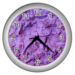 Purple Wall Background Wall Clocks (silver)