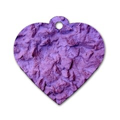 Purple Wall Background Dog Tag Heart (two Sides) by Costasonlineshop