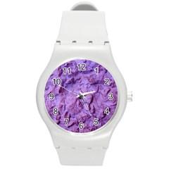 Purple Wall Background Round Plastic Sport Watch (m) by Costasonlineshop
