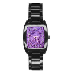 Purple Wall Background Stainless Steel Barrel Watch