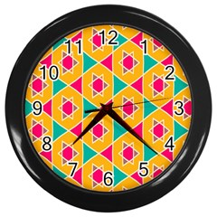 Colorful Stars Pattern			wall Clock (black) by LalyLauraFLM