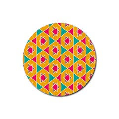 Colorful Stars Pattern			rubber Coaster (round) by LalyLauraFLM