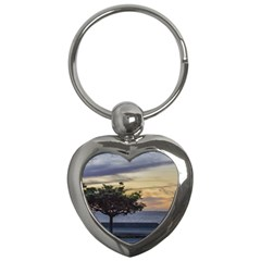 Sunset Scene At Boardwalk In Montevideo Uruguay Key Chains (heart)  by dflcprints