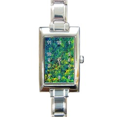 Flowers Abstract Yellow Green Rectangle Italian Charm Watches by Costasonlineshop