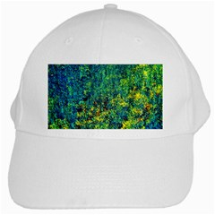 Flowers Abstract Yellow Green White Cap