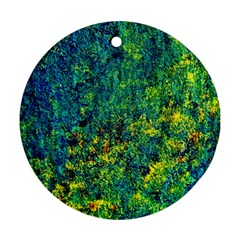 Flowers Abstract Yellow Green Ornament (round)