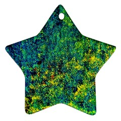 Flowers Abstract Yellow Green Ornament (Star)  by Costasonlineshop