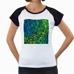 Flowers Abstract Yellow Green Women s Cap Sleeve T by Costasonlineshop