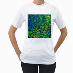 Flowers Abstract Yellow Green Women s T Shirt (white) (two Sided)