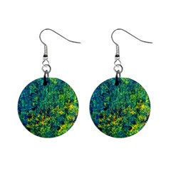 Flowers Abstract Yellow Green Mini Button Earrings by Costasonlineshop
