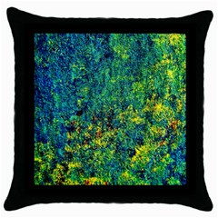 Flowers Abstract Yellow Green Throw Pillow Cases (black)