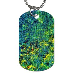 Flowers Abstract Yellow Green Dog Tag (two Sides) by Costasonlineshop