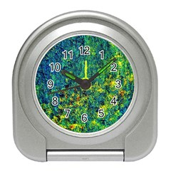 Flowers Abstract Yellow Green Travel Alarm Clocks by Costasonlineshop
