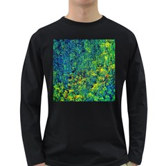 Flowers Abstract Yellow Green Long Sleeve Dark T Shirts
