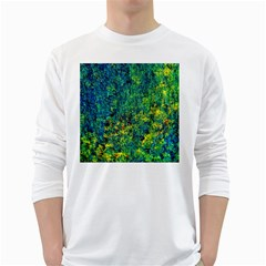 Flowers Abstract Yellow Green White Long Sleeve T-Shirts by Costasonlineshop