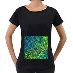 Flowers Abstract Yellow Green Women s Loose-Fit T-Shirt (Black) by Costasonlineshop
