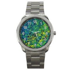 Flowers Abstract Yellow Green Sport Metal Watches by Costasonlineshop