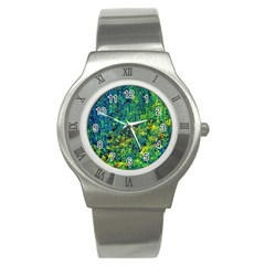 Flowers Abstract Yellow Green Stainless Steel Watches by Costasonlineshop