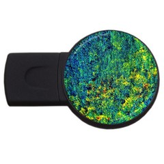 Flowers Abstract Yellow Green Usb Flash Drive Round (4 Gb)  by Costasonlineshop