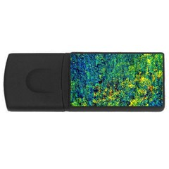 Flowers Abstract Yellow Green Usb Flash Drive Rectangular (4 Gb)