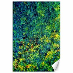 Flowers Abstract Yellow Green Canvas 20  X 30