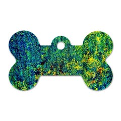 Flowers Abstract Yellow Green Dog Tag Bone (one Side)