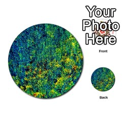 Flowers Abstract Yellow Green Multi Purpose Cards (round)  by Costasonlineshop