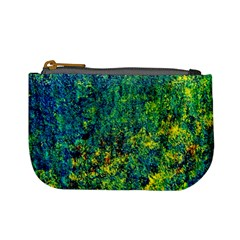 Flowers Abstract Yellow Green Mini Coin Purses