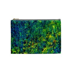 Flowers Abstract Yellow Green Cosmetic Bag (medium)