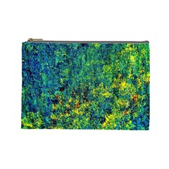 Flowers Abstract Yellow Green Cosmetic Bag (large)  by Costasonlineshop