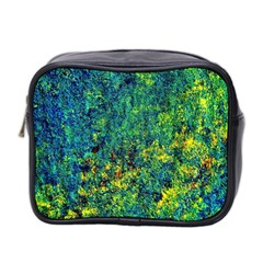 Flowers Abstract Yellow Green Mini Toiletries Bag 2-Side by Costasonlineshop
