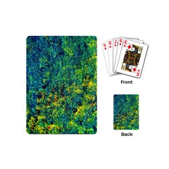 Flowers Abstract Yellow Green Playing Cards (mini)  by Costasonlineshop