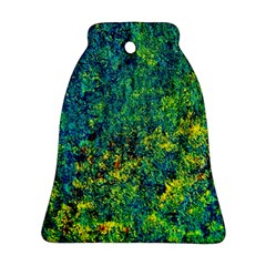 Flowers Abstract Yellow Green Bell Ornament (2 Sides) by Costasonlineshop
