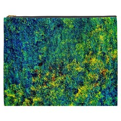 Flowers Abstract Yellow Green Cosmetic Bag (xxxl)  by Costasonlineshop
